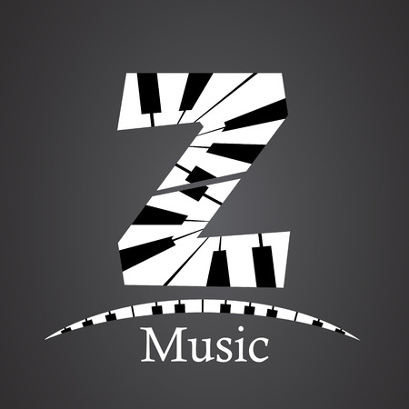 Abstract vector alphabet - Z made from piano - alphabet set