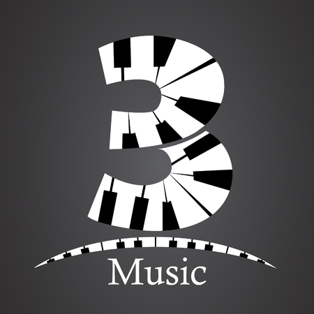key words art: Abstract vector number three made from piano - numbers set