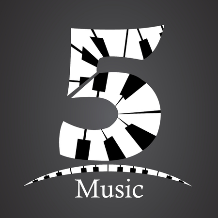 key words art: Abstract vector number five made from piano - numbers set