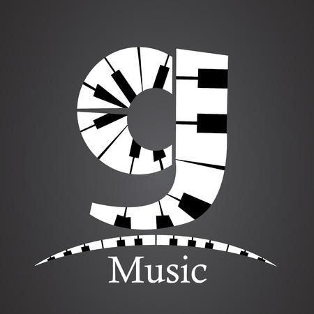 key words art: Abstract vector alphabet - g made from piano - alphabet set Illustration