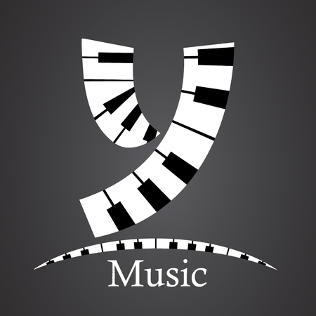 key words art: Abstract vector alphabet - y made from piano - alphabet set