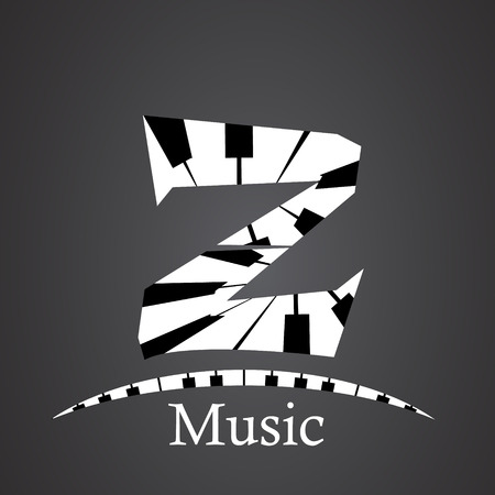 Abstract vector alphabet - z made from piano - alphabet set Illustration