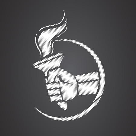 Hand with flaming torch. victory and hornor concept - vector illustration