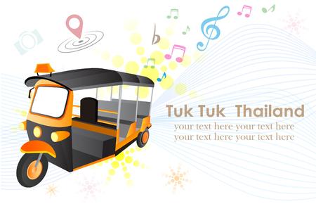 tuk: Thai traditional Tuk Tuk in Bangkok of Thailand, Flat design vector illustration