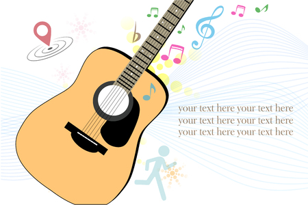 illustraiton: Illustration of a brown guitar with  and musical notes