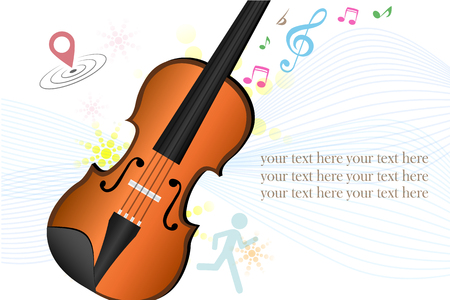 Illustration of a stationery with a violin and musical notes
