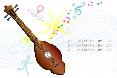 thai musical instrument: Thai folk style wooden guitar the Thai country music instrument Illustration
