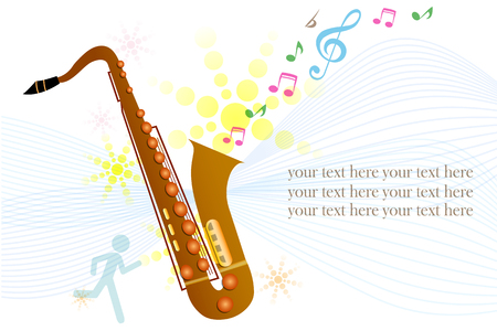 illustration of Saxophone on colorful abstract grungy background