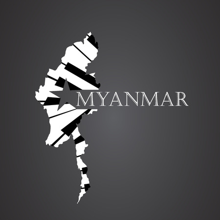Myanmar Map made from guitar Illustration