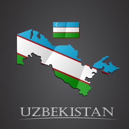 uzbekistan: Map of uzbekistan. vector illustration