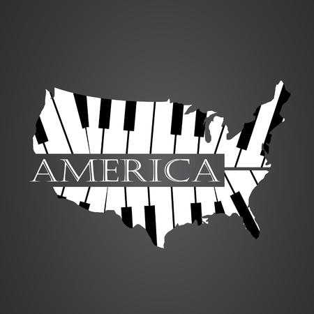 carte de l'Amérique en piano