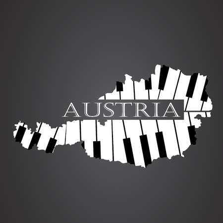 austria map: austria map made from piano