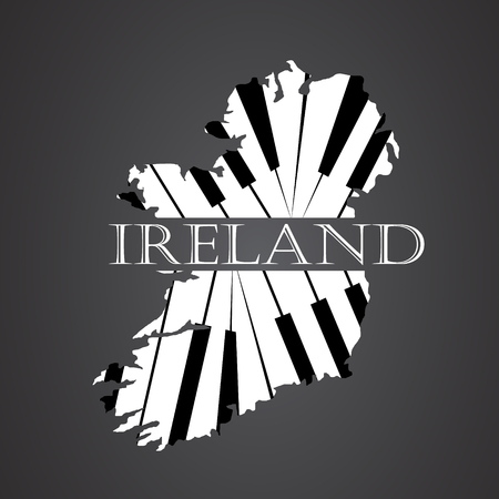 ireland map: ireland map  made from piano Illustration