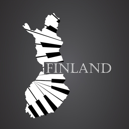 made in finland: finland map made from piano Illustration