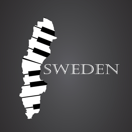 sweden map: sweden map made from piano Illustration