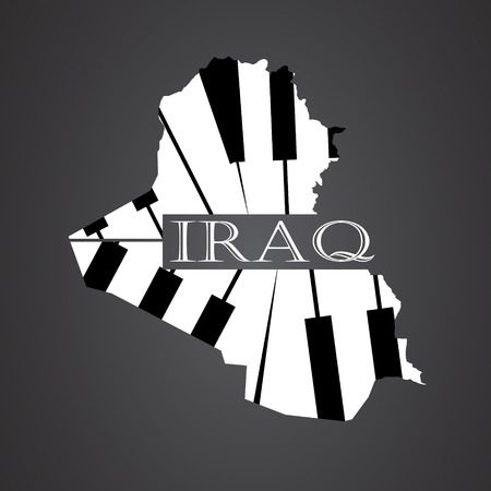 iraq map made from piano