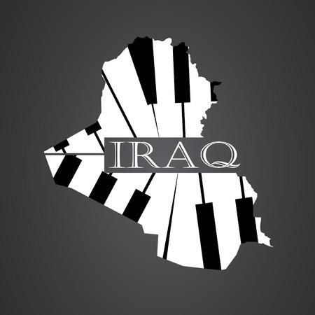 iraq: iraq map made from piano