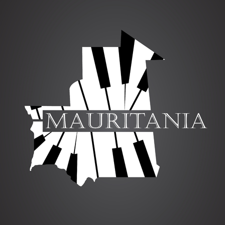 mauritania map made from piano