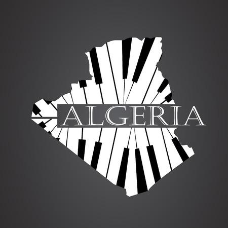 algeria map made from piano