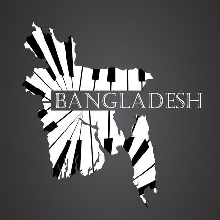 bangladesh map made from piano