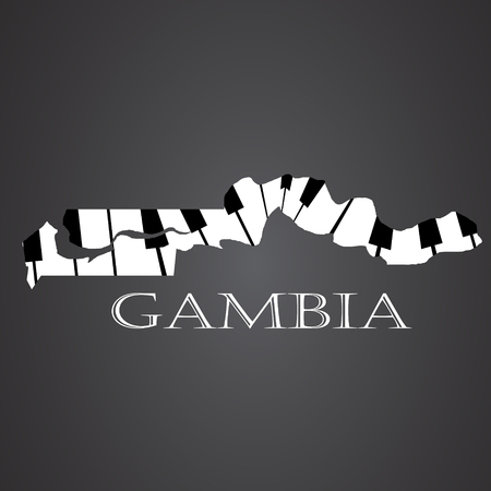 gambia: gambia map made from piano Illustration