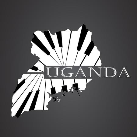 uganda map made from piano