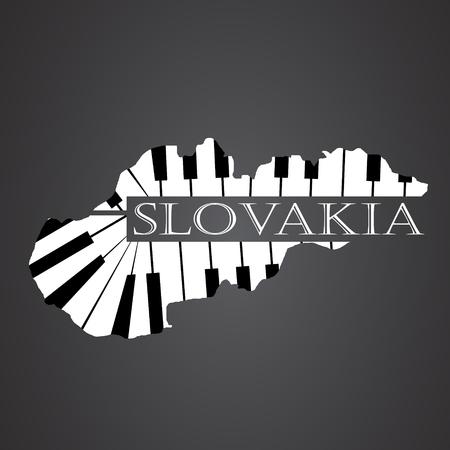 slovakia map made from piano