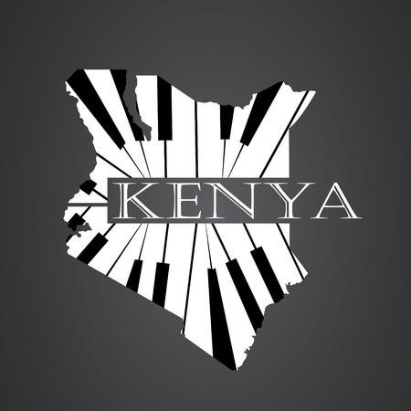 kenya map made from piano