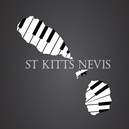 st kitts nevis map made from piano