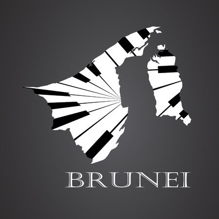 brunei map made from piano