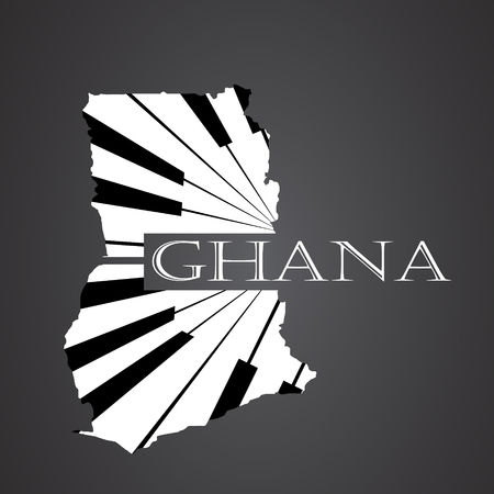 ghana map made from piano Illustration