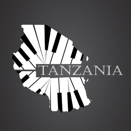 tanzania map made from piano Illustration