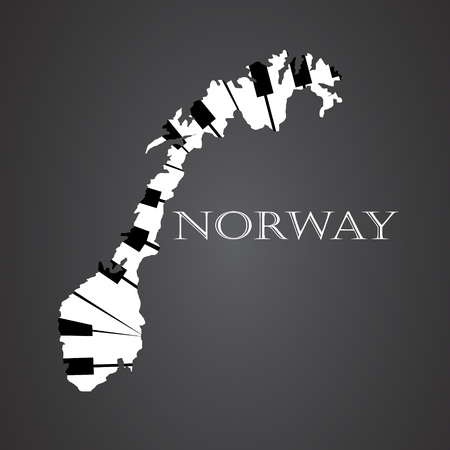 norway map made from piano Illustration