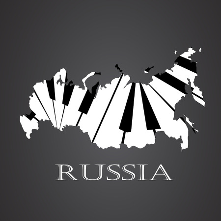 russia map made from piano Illustration