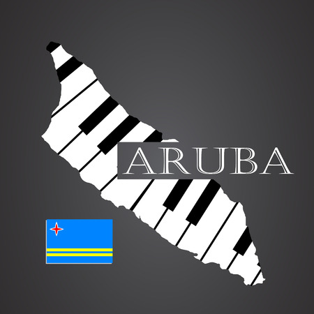 aruba: aruba map made from piano