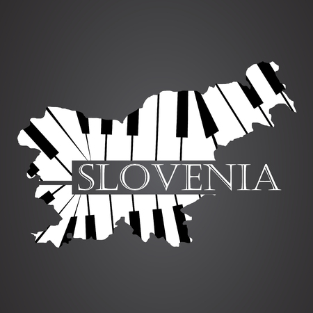 slovenia map made from piano