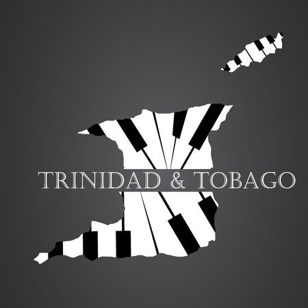 trinidad & tobago map made from piano