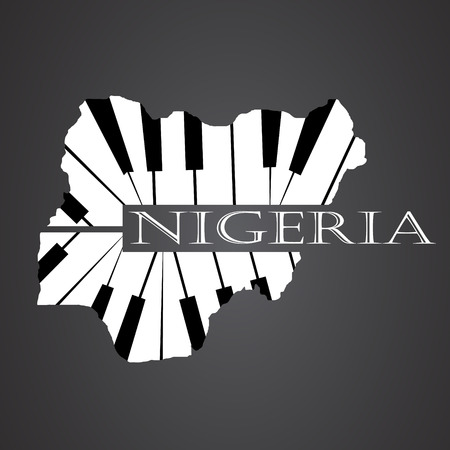 country nigeria: nigeria map made from piano