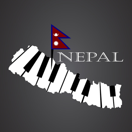 nepal map made from piano Illustration