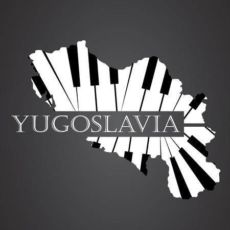 yugoslavia map made from piano
