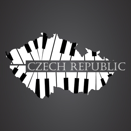 czech republic map made from piano Illustration