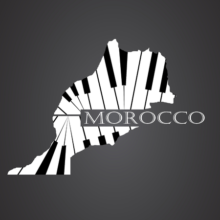 made in morocco: morocco map made from piano