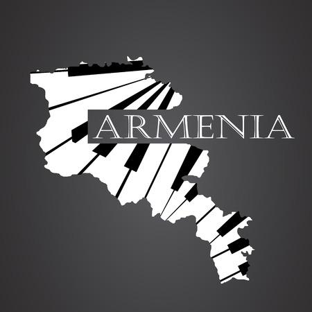 armenia map made from piano