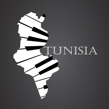 tunisia map made from piano
