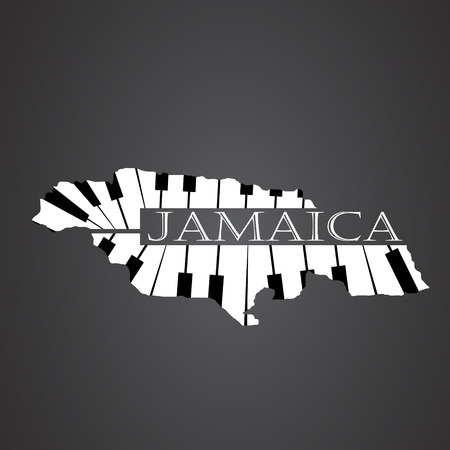 jamaica map made from piano Illustration