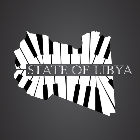 state of libya map made from piano Illustration