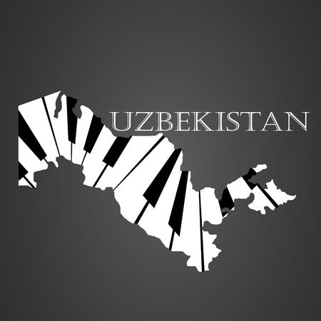 uzbekistan map made from piano