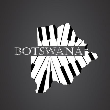 botswana map made from piano