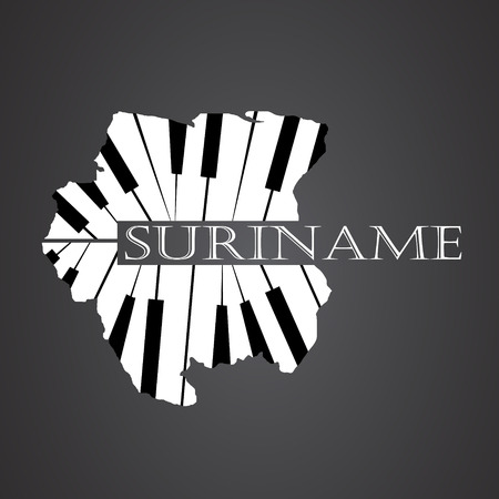 suriname map  made from piano Illustration