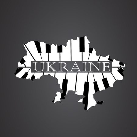 ukraine map made from piano